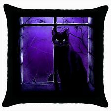 NEW* HOT CUTE BLACK CAT Quality Black Cushion Cover Throw Pillow Case Gift 05