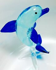 Dolphin Crystal Blown Glass Figurine Tiny Fish Animal Hand Paint Gift Collection