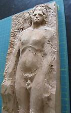 """Adam Wooden Nude Relief Carving Artwork - Incomplete - ~33""""x11½""""x3"""" - No Eve"""