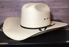 -- MINT -- Stetson 8X Straw Cowboy Hat 7 1/8 Rancher Rodeo NATURAL