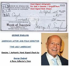 GEORGE H ENGLUND  ACTOR DIRECTOR PRODUCER  GENUINE HAND SIGNED BANK CHEQUE  RARE