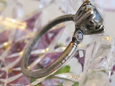 ANTIQUE 1920'S UNCAS STERLING SILVER CLASSIC ENGAGEMENT RHINESTONE RING SIZE 6