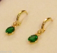 K20 Real Gold gf huggie hoop earrings, small (8mm) green emerald droppers BOXED