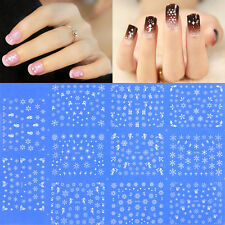 Wholesale Christmas White Snowflakes Snowman Design 3D Nail Art Stickers Decals