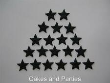 20 X EDIBLE BLACK GLITTER STARS. CAKE DECORATIONS - SMALL 2cm
