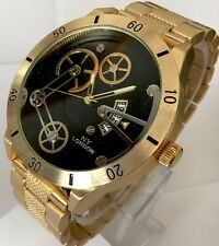 Mens Big Wrist Watch Gold Black Metal Steel Strap Classic Luxury Casual Date New