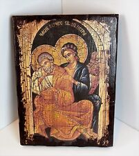 Vintage Religious Icon Picture Painting on Wood.