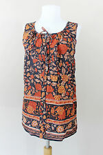 NEW Lucky Brand Ruffle Sleeveless Tie Shirt Top Orange Blue Floral Womens Large