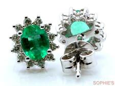 Solid 14K White Gold Victorian Oval Cut Natural Emerald & Diamond Stud Earrings