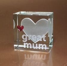 "Spaceform ""Great Mum"" Glass Token Gift Idea Ideas for Her Mum Mothers Day 1358"