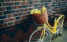 Framed Print - Yellow Bicycle against a Brick Wall (Picture Poster Pushbike Art)