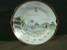 "Vtg.Striegau Silesia Hand Painted""Japanese Landscape""Handled Cake Plate,Germany"