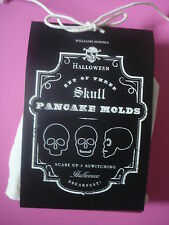 WILLIAMS SONOMA HALLOWEEN SKULL PANCAKE MOLDS WITH RECIPE SET OF 3