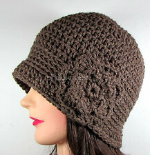 Handmade Womens Crochet Cloche Beanie Hat Flower TAUPE BROWN Acrylic One Size