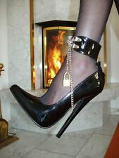 Extrem Stiletto Lack Pumps High-Heels Größe 44 Schwarz