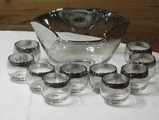 Vintage Mid Century Silver Fade Rim Punch Bowl & 10 Roly Poly Glasses