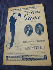 Partition Je vous aime Fabris Battaille 1922 Music Sheet