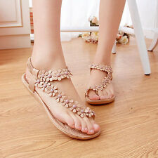 Summer Women Bohemia Flat Shoes Beach Sandals Casual T-Strap Slippers Flip Flops