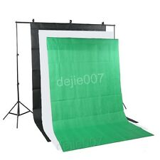 Black White Green Background Backdrop Kit & Photo Lighting Studio Support Stand