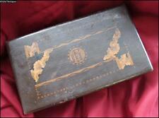 19C. ANTIQUE HANDMADE WOODEN JEWELRY BOX w/MONOGRAM