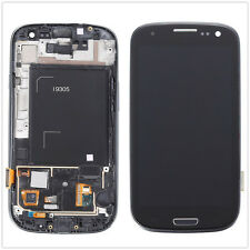 Full LCD Touch Screen Glass Digitizer Frame Assembly For Samsung S3 i9305 Black