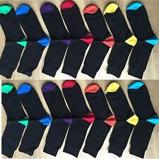 12 PAIRS MEN ADULTS BLACK COTTON SOCKS WITH COLOURED HEELS&TOES UK  6 -11 QSP