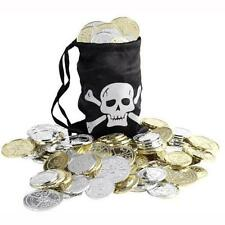 Pirates Black Money Coin Gold Bag With Pirate Coins Fancy Dress Accessory 28344