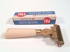 Vintage Schick Eversharp Gold Injector Safety Razor Cream Handle and PAL Blades