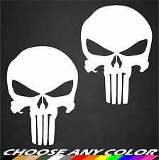 "2 - 4"" x 6"" Punisher Skull Stickers Decals Veteran Military United States Colors"