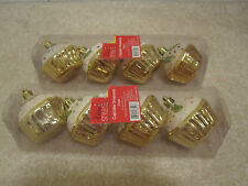 Cupcake plastic ornaments set of 8 new with tags christmas green gold holly