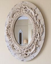 Shabby Chic Cream Oval Distressed Vintage Wooden Mirror Gift Hallway Bedroom