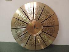 """Vtg Diehl Germany Wall Clock Mid Century Modern Metal Wood 21"""" Round for Repair"""