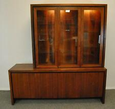 Mid-Century Danish Modern 2 Pc Teak Buffet China Display Cabinet by Dillingham
