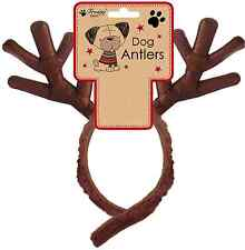 PET DOG FESTIVE ANTLERS CHRISTMAS FANCY DRESS NOVELTY VELRCO HEAD BAND PDAT
