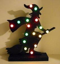 """HALLOWEEN 16"""" LIGHTED Black Silhouette WITCH on Broom FIGURE Light Changes Color"""