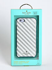 Kate Spade Hard Cover Case for iPhone 6 iPhone 6s (Silver/Cream Diagonal Stripe)