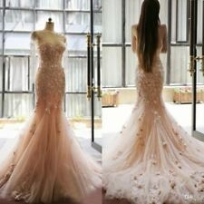 Fairy Tale Blush Mermaid Wedding Dress Appliques Flowers Sweetheart Bridal Gowns