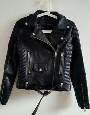 NEW BLACK FAUX LEATHER BIKER JACKET WITH ZIPS SIZE ZARA KNITTED TOP S UK 8