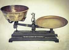 Antique BALANCE Cast Iron Merchant Weighing Scale Brass Pans FRENCH
