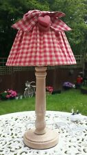 Wooden and Red Bow Table Lamp Shabby Chic Heart Country