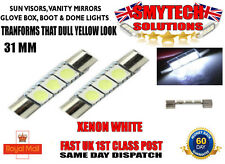 x2 XENON WHITE 3 LED 31MM GLOVE BOX BULBS