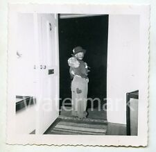 1950s snapshot photo Young Boy in Hobo Halloween costume    #2