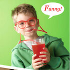 Novelty Silly Clear Drinking Straw Glasses Straws Kids Christmas Color Random HG