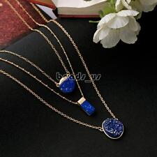 Fashion Women Style Multi Layer Necklace Chain Pendant Blue Gemstone Resin