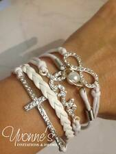 White Rhinestone Multi Layer Leather Wrap Cord Bracelet - Love Infinity Charm