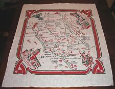 Vintage CALIFORNIA tablecloth wall hanging MAP LANDMARKS linen blend SOUVENIR