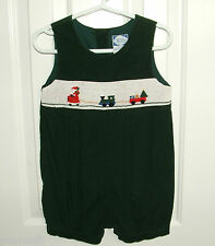 Carriage Boutiques Green Corduroy Smocked Romper Boys 2 2T Santa Train