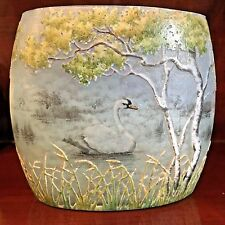 Rare Antique Daum Vase with Etched Swan Motif, early 20th century
