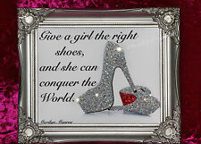Silver Shabby Chic Glitter SHOE Quote Canvas Picture Inspired  Marilyn Monroe