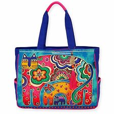 Laurel Burch Bohemian Whiskers Cat OVERSIZED Tote Bag Multi on Blues NEW 2017